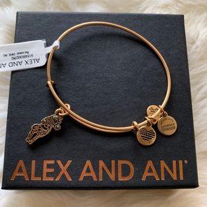 NWT Alex and Ani Reindeer Charm Bangle Bracelet